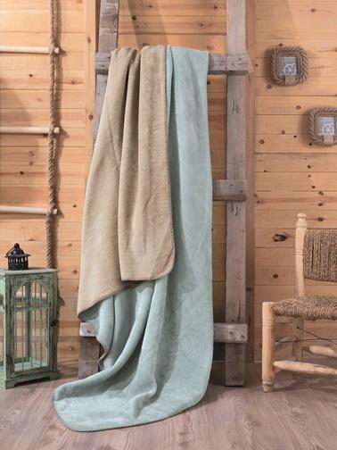 Cotton Box Çift Kisilik Pamuklu Battaniye Mint-Bej Renkli